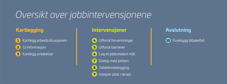 Bildet viser en oversikt over jobbintervensjonene i jobbfokusert behandling