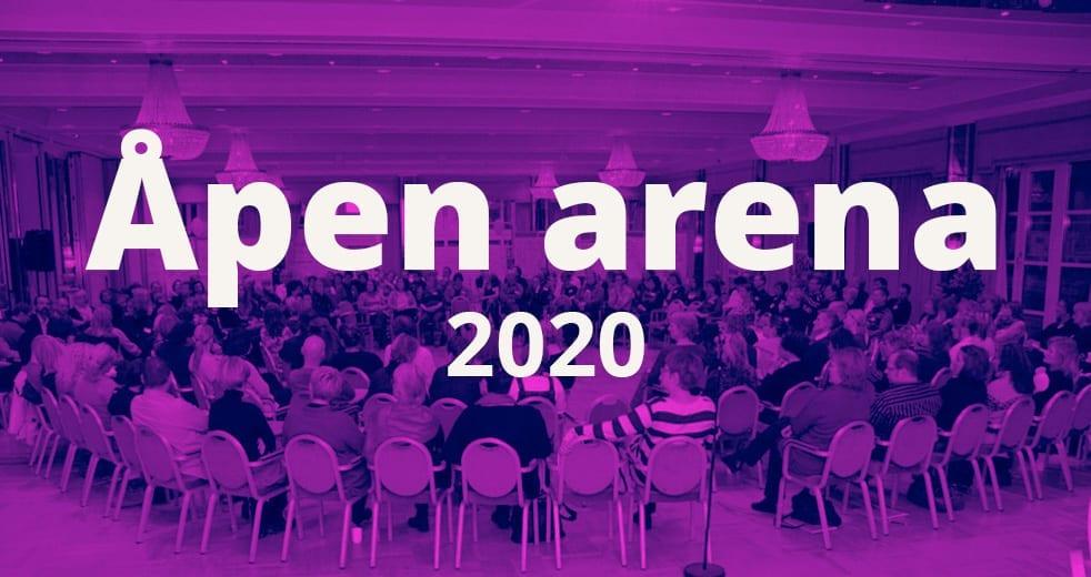 """Bilde med teksten """"Åpen arena 2020"""""""