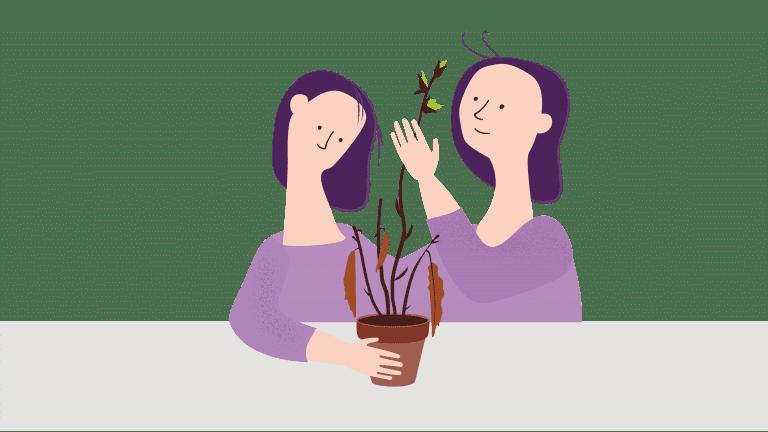 To damer ser på en plante. En av damene har fokus på den visne delen, den andre har fokus på den grønne, spirende delen.