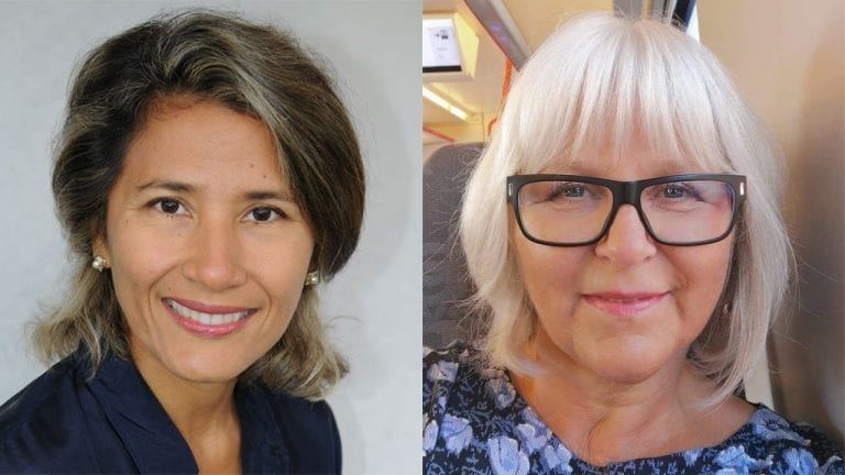Forsker Ruby Del Risco Kollerud og kreftkoordinator Nina Martinsen
