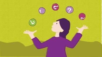 Kvinne med litt for mange baller i lufta, som trenger arbeidsrettet rehabilitering