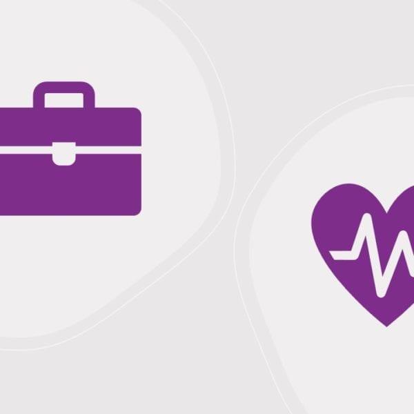 En stresskoffert og et hjerte som skal illustrere arbeid og helse