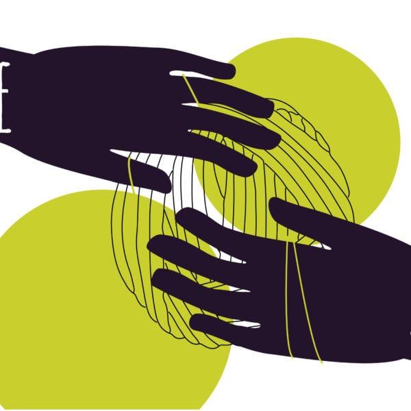 To hender som holder i et garnnøste som skal vise at helse og jobb henger tett sammen